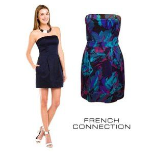French Connection Strapless Dress Floral Size 10